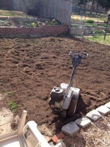 tilling the patio area
